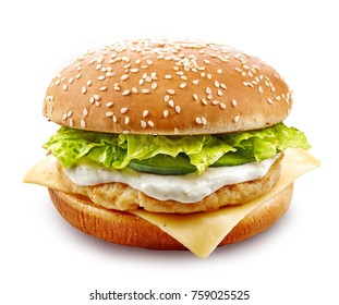 fresh chicken burger isolated on white background
