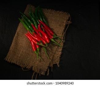 Fresh chili isolate on Black background