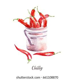 fresh chilli illustration. Hand drawn watercolor on white background.