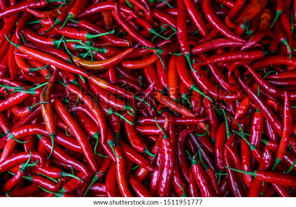 Fresh Chillies on an Asian Market; Background image