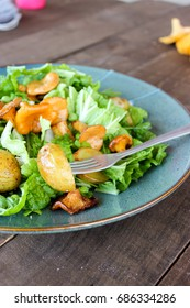Fresh Chinese cabbage salad with fried chanterelles and new potatoes, dressed with olive oil.