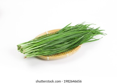 Fresh Chinese chives,Garlic chives on white background