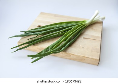 Fresh chives with water droplets