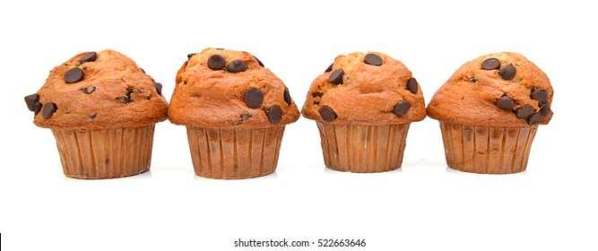 Fresh chocolate chip muffin close up.