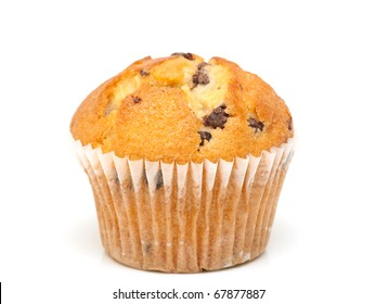 Fresh chocolate chip muffin close up.