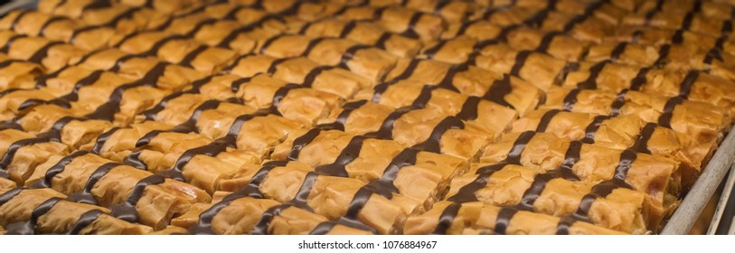 Fresh chocolate covered Baklava right out of the oven
