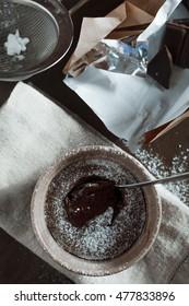 Fresh chocolate fondant. Overhead view. Stock Image