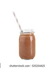 Fresh chocolate milkshake in glass jar isolated on white