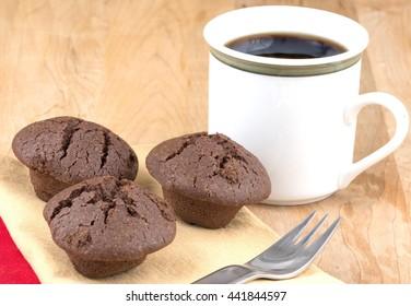 Fresh chocolate mini muffins