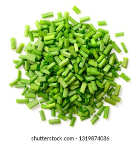 fresh chopped chives isolated on white background, top view