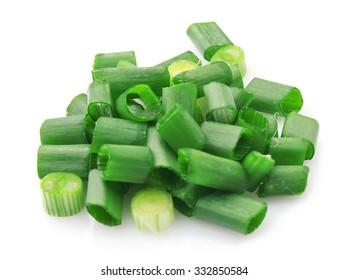 Fresh chopped green onion isolated on white background