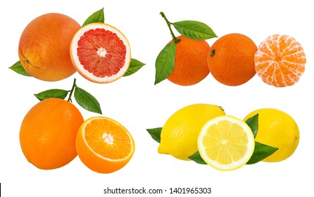 Fresh citrus collage isolated on white background  with clipping path