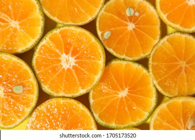Fresh citrus fruits colorful background. Top view, flat lay