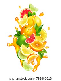 Fresh citrus fruits wedges slices and segment with orange juice splashes around colorful realistic composition  illustration