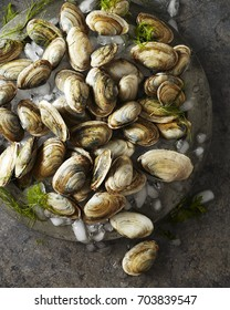 Fresh clams and ice on a platter