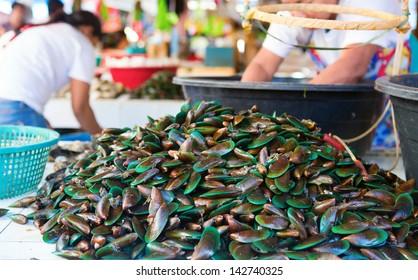 Fresh clams on seafood market on Boracay island, Philippines
