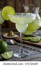 Fresh classic lime margarita cocktail