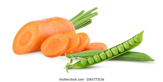 Fresh clean carrots with stems, ring slice and young peas isolated on white background. Clipping Path. Full depth of field.