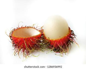 Fresh close up rambutant sweet and delicious fruit isolated on white background