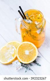fresh cocktail in manson jar
