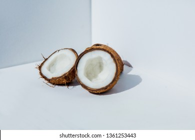 Fresh cocnuts on white background. Side view