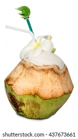 Fresh Coconut with drinking straw ,Smell sweet and delicious coconut juice on white background