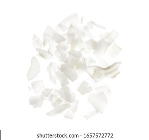 Fresh coconut flakes on white background, top view