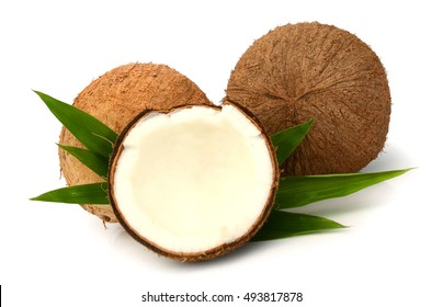 fresh coconut halves isolated on white background