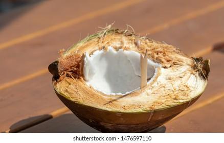 fresh coconut healthy food, close up