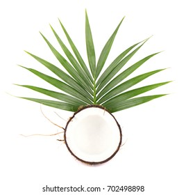 Fresh coconut with leaves isolated on white background