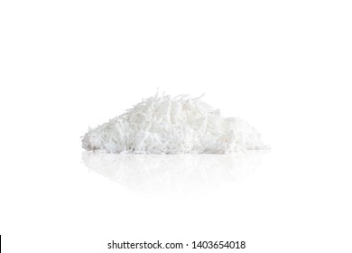 Fresh Coconut Meat flakes, isolated with clipping on white background