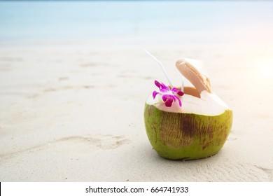 Fresh coconut on the beach