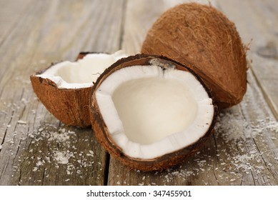 Fresh coconut on a wooden background