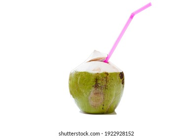Fresh Coconut Water Drink on white background, Refreshing concept, Thirsty, Fresh from garden