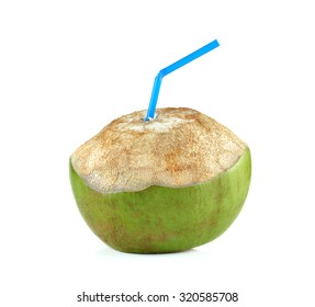 Fresh Coconut Water Drink on white background.