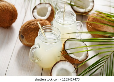 Fresh Coconut Water in a Glass. Healthy food concept. Selective focus.