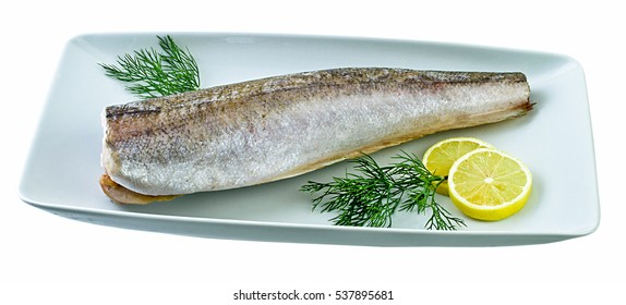 Fresh cod on white plate. Clipping path