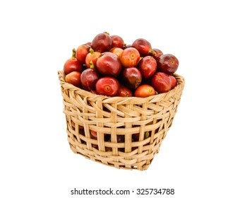 fresh coffee beans in basket on white background