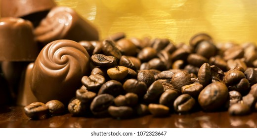 Fresh coffee beans close-up - web banner of morning, caffeine and freshness concept