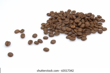 fresh coffee beans isolated at white background