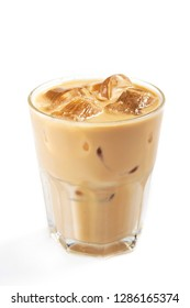 Fresh coffee ice in a glass isolated on a white background