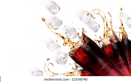 Fresh coke background with ice and splash isolated on a white
