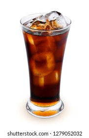 fresh coke in the glass isolated on white background
