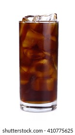 Fresh coke in glass isolated on a white background.