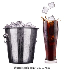 Fresh cola drink background with splash isolated on a white