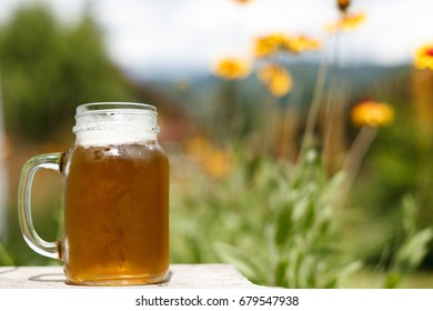 Fresh cold beer mug outdoors, in the middle of the nature, under summer sunlight, surrounded by flowers and trees