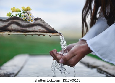 fresh cold and drinking water from source