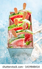 Fresh and cold ice cream made of watermelon on ice