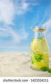 Fresh cold lemonade by beach