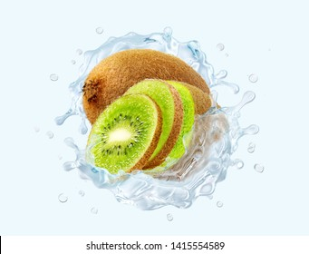 Fresh cold pure kiwi flavored water wave splash. Clean infused water or liquid fluid 3D wave splash with kiwi, kiwi slices design elements. Healthy flavored detox drink splash concept. Clipping path